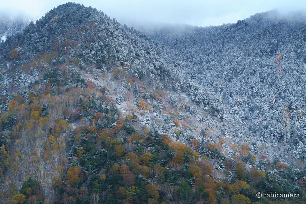 上高地 紅葉と雪化粧