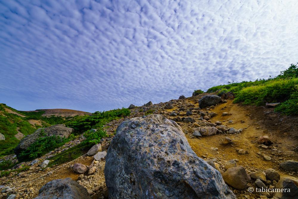 一切経山登山道からの雲
