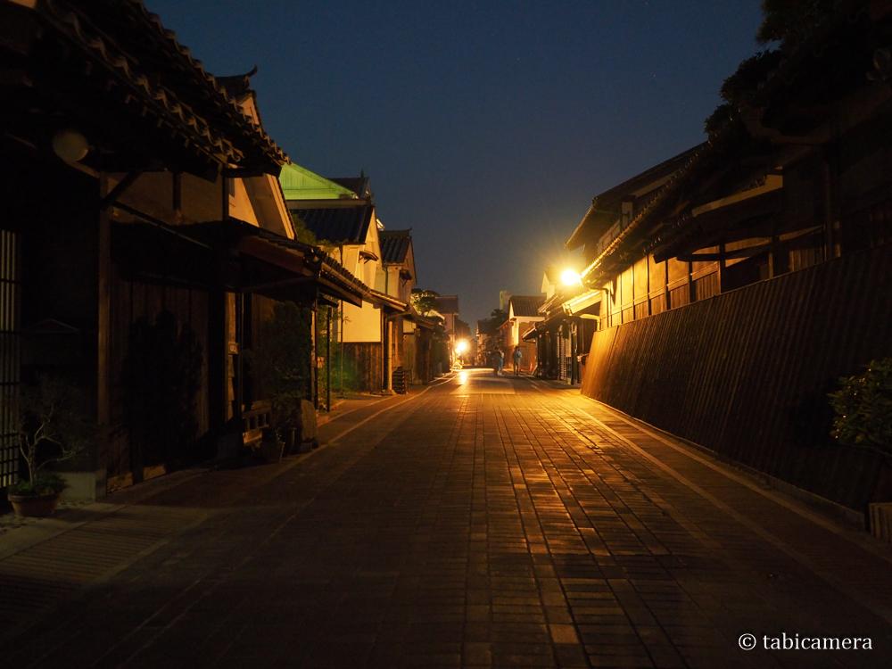 安芸の小京都の広島竹原街並み保存地区夜景