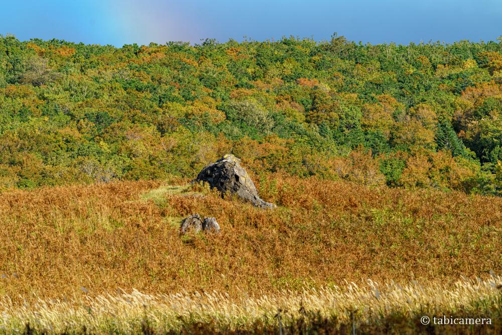 秋のフレペの滝の草原と虹