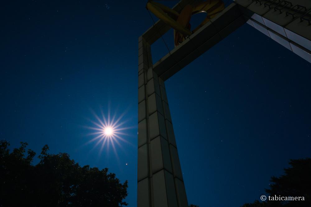 秩父ミューズパーク展望台と月